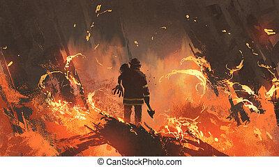 bombeiro, segurando, menina, ficar, em, queimadura,...