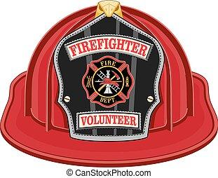 bombeiro, voluntário, vermelho, capacete