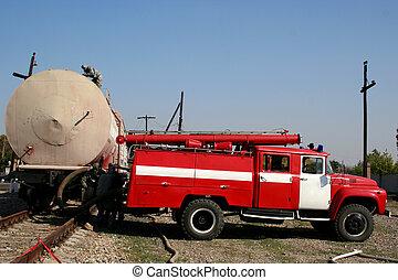bombeiros, em, químico, proteção, paleto