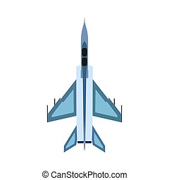 Bomber aircraft top view vector icon. Fight sky technology design attack airforce. Plane military fighter warfare