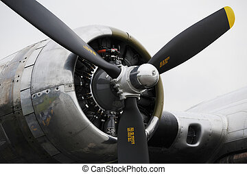Bomber airplane engine - Close-up view of bomber airplane...