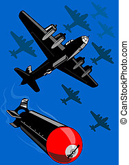 Bomber dropping bombs - Illustration on aerial warfare