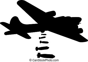 bomber - silhouette of a bomber plane isolated