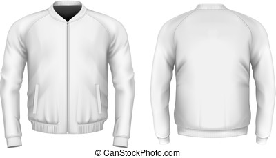 Bomber jacket in white. Front and back views. Vector...