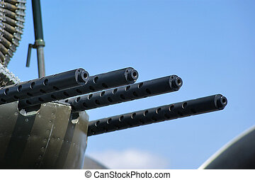 Bomber Machine Guns - Close up of machine guns used on an...