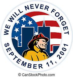 bombero, 9-11, norteamericano, bombero