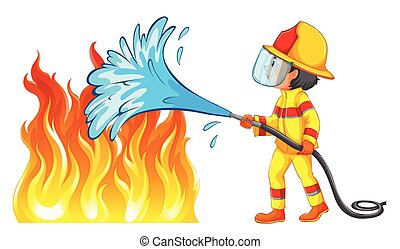 bombero, afuera, fuego, poniendo