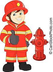 bombero, arriba, pulgar, caricatura