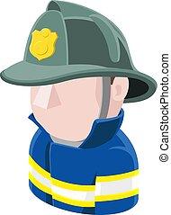 bombero, avatar, gente, icono