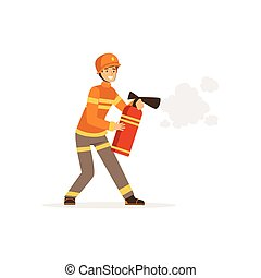 bombero, carácter, en, uniforme, y, protector, casco, rociar, espuma, de, un, extintor, bombero, en el trabajo, vector, ilustración
