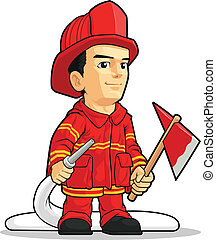 bombero, caricatura, niño
