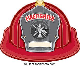 bombero, casco, rojo