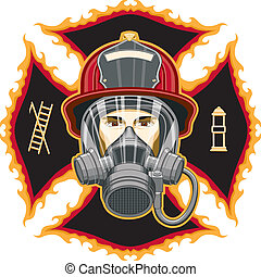 bombero, con, máscara, en, cruz