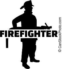 bombero, con, silueta