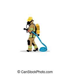 bombero, con, un, manguera, signo., vector, illustration.