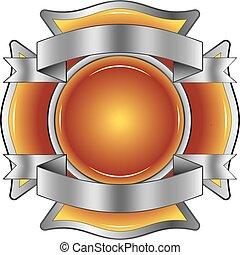 bombero, cruz, con, cintas
