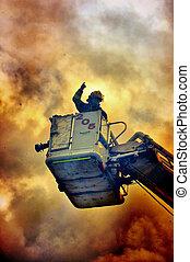 bombero, en, el, fuego