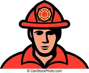 bombero, en, uniforme, vector