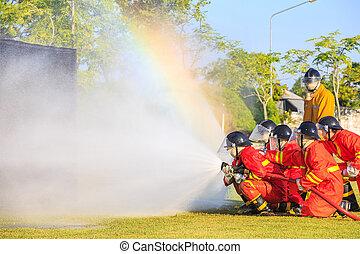 bombero, fuego, ataque, entrenamiento, lucha