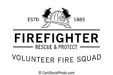 bombero, fuego, voluntario, escuadra, :
