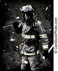 bombero, posturas, largo, fi, después