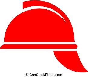 bombero, sombrero duro, vector, icono