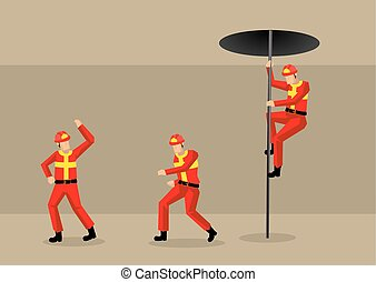 bomberos, en, parque de bomberos, vector, caricatura,...