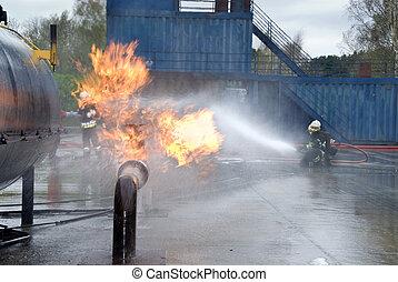 bomberos, extinguir, tubería, fuego
