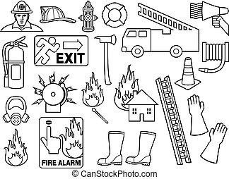 bomberos, línea fina, iconos, colección