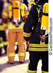 bomberos, preparado, para trabajar