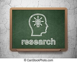 bombilla, cabeza, investigación de mercados, pizarra, plano ...