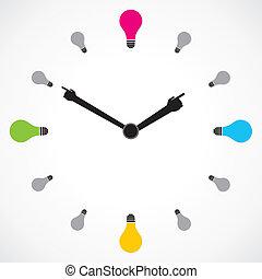 bombilla, colorido, reloj