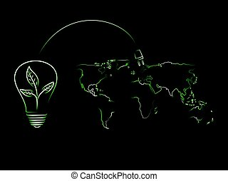 bombilla, con, hojas, adeudo en cuenta, el mundo, de, energía renovable