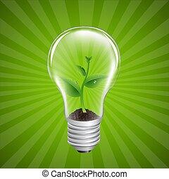 bombilla, con, verde, brote, sunburst, plano de fondo