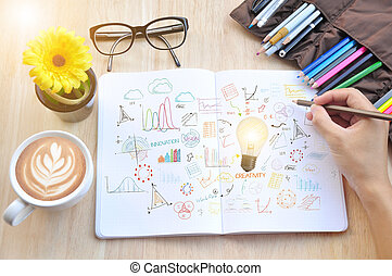 bombilla, escribir, concepto, empresa / negocio, innovación, ideas, book., estrategia, nota, creativity., nuevo, mano