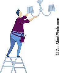 bombilla, herramientas, plano, aislado, luz, reparación, maintenance., character., caricatura, cambiar, reemplazar, ladder., casa, handyworker, vector, faceless, bulb., ilustración, hombre, color de casa, tipo
