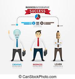 bombilla, hombre de negocios, exitoso, infographic, ...