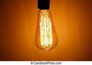 bombilla, lámpara, con, tibio, luz