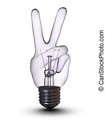 bombilla, lámpara, v-hand