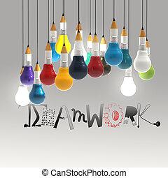 bombilla, lápiz, concepto, palabra, diseño, trabajo en ...
