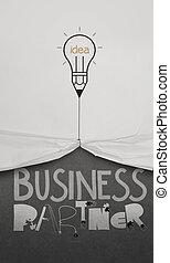 bombilla, lápiz, empate, concepto, empresa / negocio, ...
