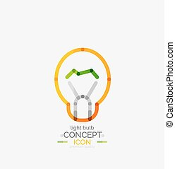 bombilla, logotipo, diseño, mínimo, luz