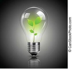 bombilla, luz verde
