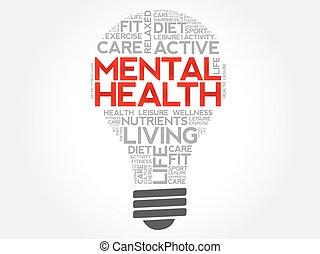bombilla, palabra, salud, mental, nube