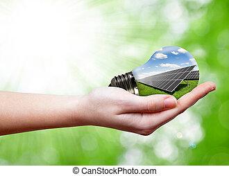 bombilla, panel, solar, mano