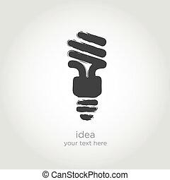 bombilla, vector, idea, luz