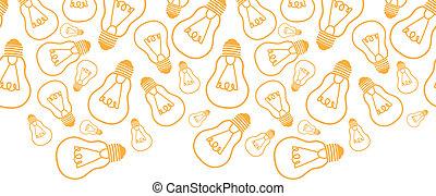 bombillas, arte, patrón, seamless, plano de fondo, luz, línea, frontera, horizontal
