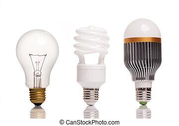 bombillas, diferente, tipos, luz