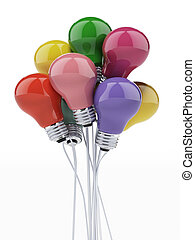 bombillas, globos, coloreado