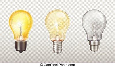 bombillas, luz eléctrica, vector, incandescente, lámparas